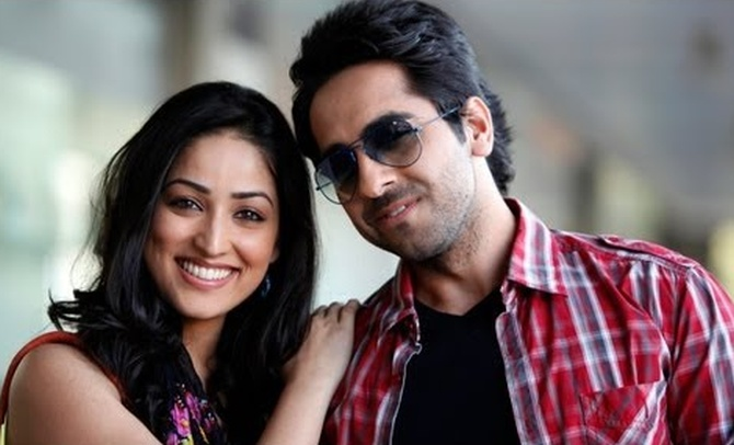 Ayushmann Khurrana and Yami Gautam in Vicky Donor.