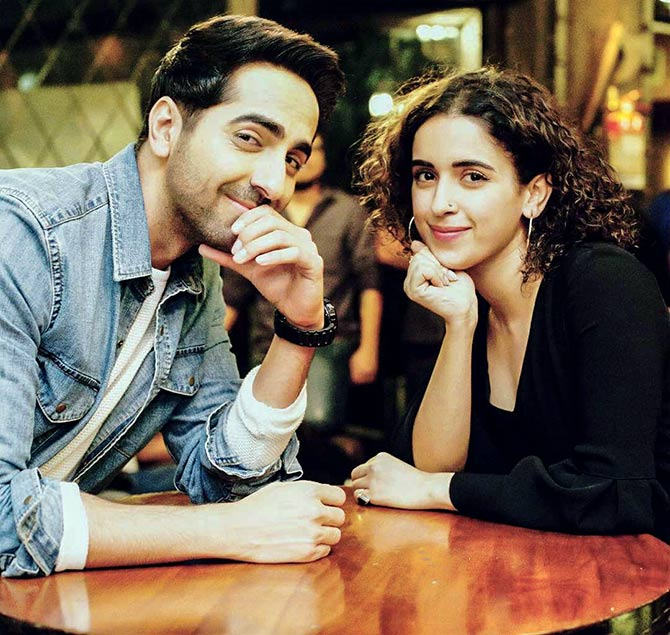 Ayushmann and Sanya Malhotra in Badhaai Ho.