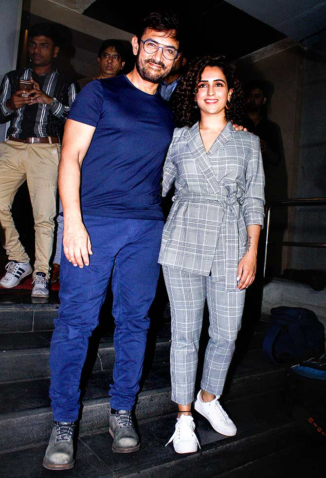 PIX: Aamir's movie date with Sanya Malhotra - Rediff.com movies
