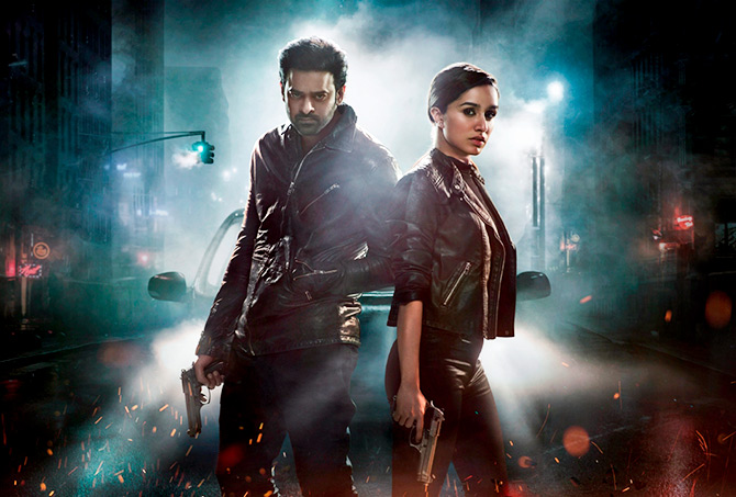 Prabhas with Shraddha Kapoor in Saaho.