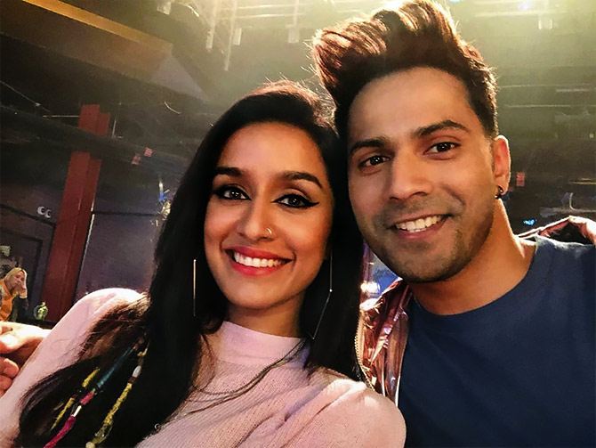Shraddha with Varun Dhawan on the sets of Street Dancer.