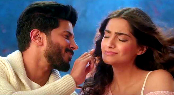 Dulquer and Sonam in The Zoya Factor.