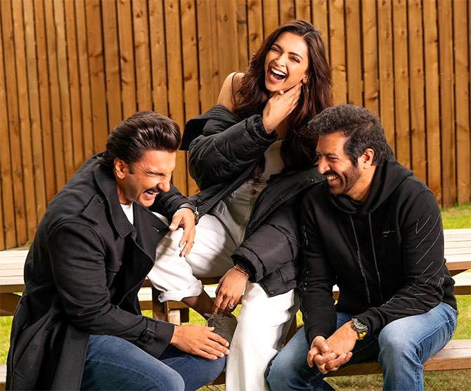 Deepika Padukone and Ranveer Singh with 83 Director Kabir Khan.