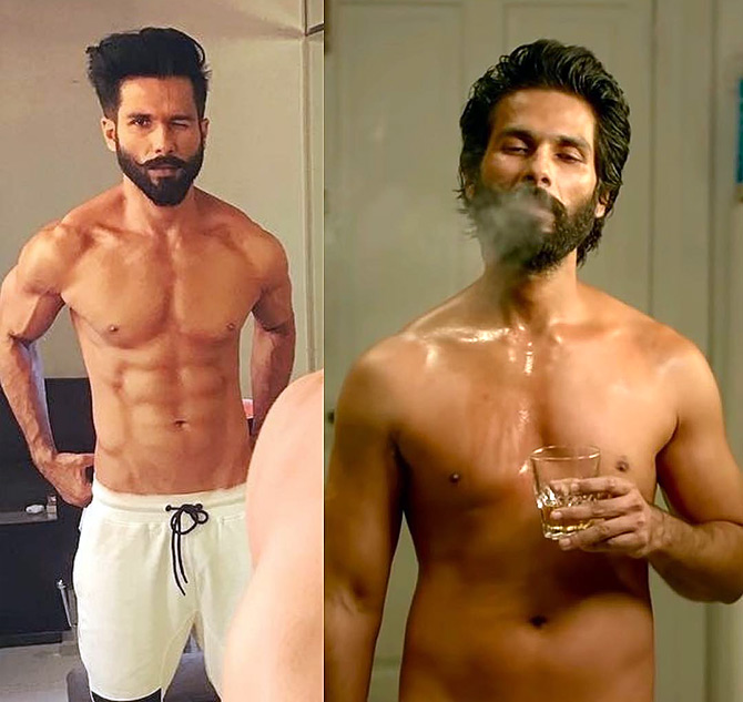 The two versions of Shahid Kapoor in Kabir Singh. Photograph: Kind courtesy Shahid Kapoor/Instagram