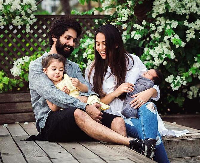 Shahid with wife Mira and kids Misha and Zain. Photograph: Kind courtesy Mira Rajput/Instagram
