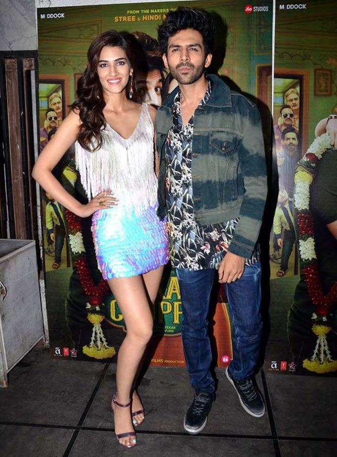 Kriti Sanon and Kartik Aaryan at the Luka Chuppi success party