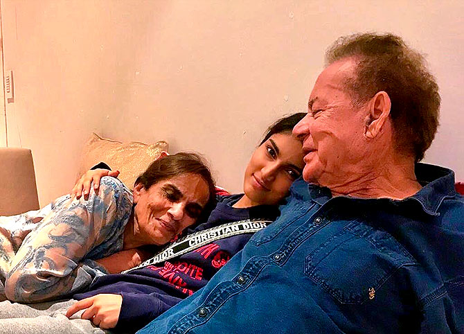 Salman's parents Salma and Salim Khan with his niece Alizeh. Photograph: Kind courtesy Salman Khan/Instagram