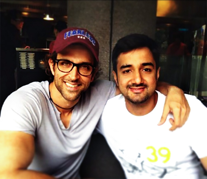 Siddharth with Hrithik. Photograph: Kind courtesy Siddharth Anand/Instagram
