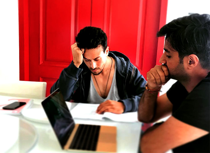 Tiger learns his lines with Siddharth. Photograph: Kind courtesy Siddharth Anand/Instagram