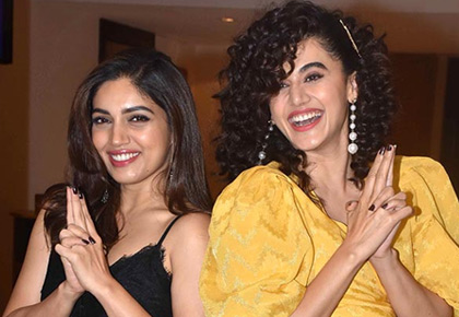 Who are Bhumi and Taapsee shooting at?
