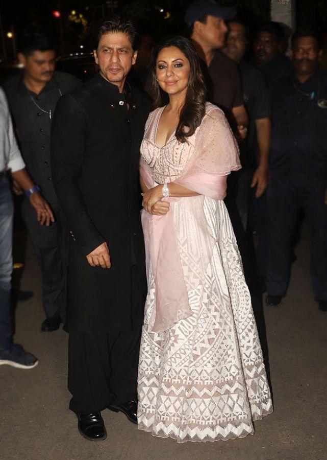 Gauri Khan and Shah Rukh Khan at the Bachchans's Diwali party last year. Photograph: Pradeep Bandekar
