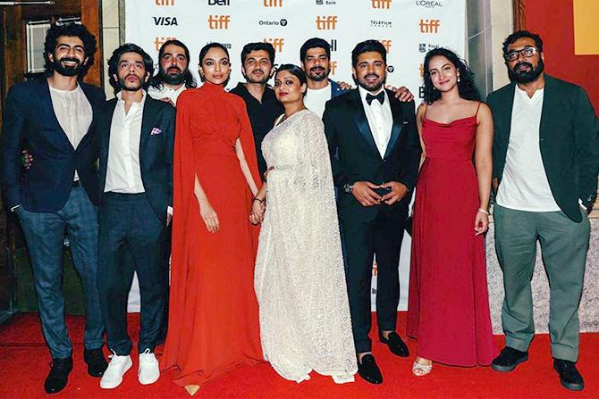 The Moothon team: Actors Roshan Mathew and Shashank Arora, Visual Effects Supervisor Rif Dagher, Actor Sobhita Dhulipala, Co-Producer Ajay Rai, Director Geetu Mohandas, Co-Producer Vinod Kumar, Nivin, Actor Melissa Raju Thomas and Producer Anurag Kashyap.