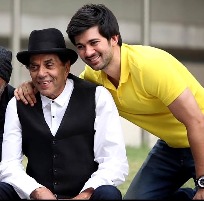 Karan with his grandfather Dharmendra. Photograph: Kind courtesy Karan Deol/Instagram