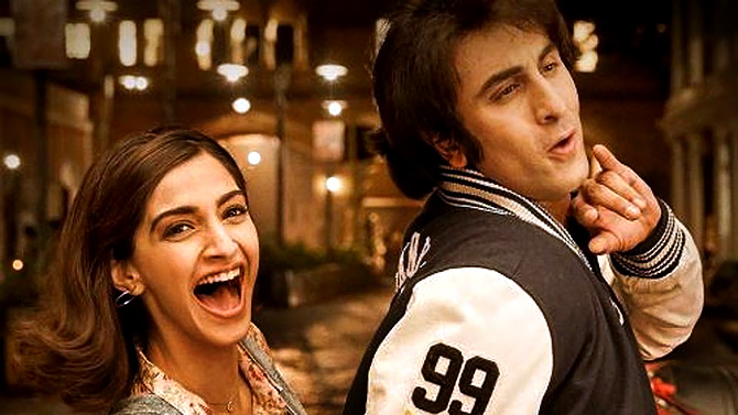 Sonam and Ranbir Kapoor in Sanju.
