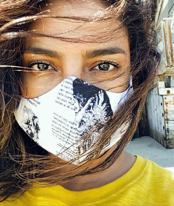 Priyanka Chopra wears a mask
