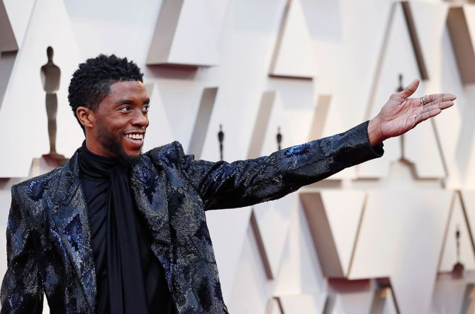Chadwick Boseman arrives for the Oscars, February 24, 2019. Photograph: Mario Anzuoni/Reuters