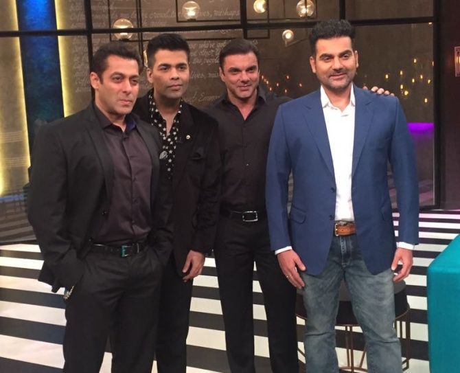 Salman, Karan Johar, Sohail and Arbaaz Khan in Karan Johar's Koffee with Karan