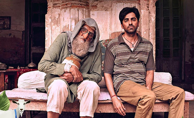 Amitabh Bachchan as Mirza with Ayushmann Khurrana as Bankey Rastogi in a scene from Shoojit Sircar's Gulabo Sitabo.
