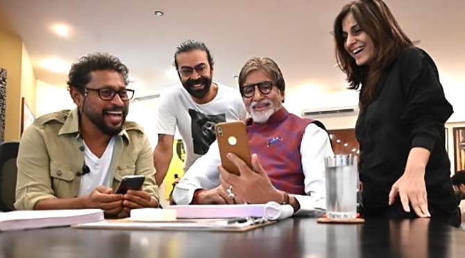Director Shoojit Sircar with Producer Ronnie Lahiri, Amitabh Bachchan and Writer Juhi Chaturvedi
