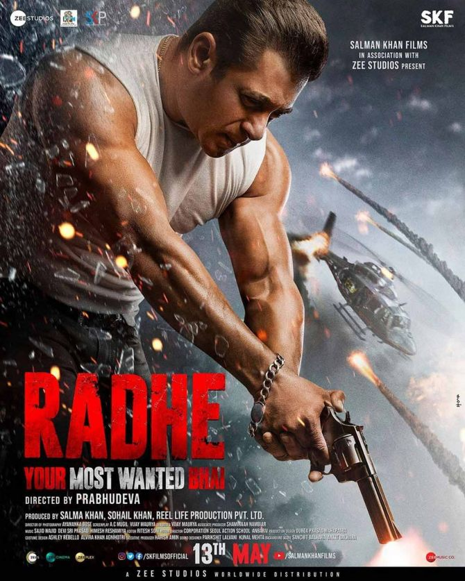 Salman Khan on the Radhe: Your Most Wanted Bhai poster