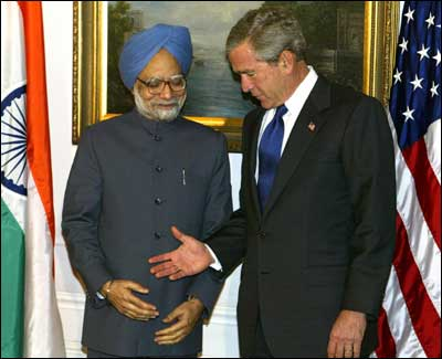 Prime Minister Manmohan Singh with then US President George W Bush in Washington, DC