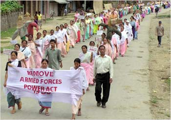 Villagers protest against the controversial Armed Forces Special Powers Act in Manipur