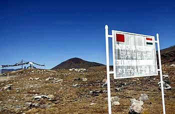 A signboard on the Indo-China border at Bumla, Arunachal Pradesh.