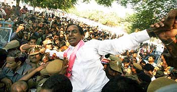 TRS president K Chandrasekhara Rao courting arrest during a jail bharo agitation in Hyderabad
