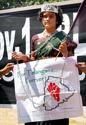 Telangana activists observe black on Andhra Pradesh Formation Day