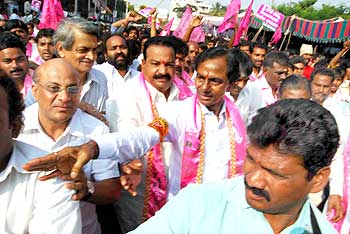 TRS activists on a jail bharo programme in Hyderabad