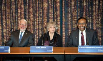 Nobel Chemistry Prize laureates attend a press conference at the Royal Academy of Sciences in Stockholm
