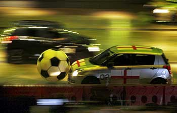 An automobile soccer match