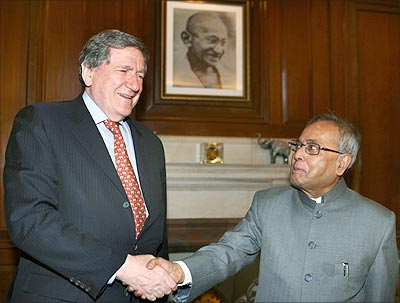 Richard Holbrooke with then external affairs minister Pranab Mukherjee.