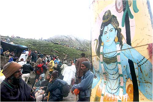 People waiting at the base camp for to embark on the pilgrimage