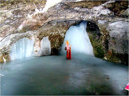 The ice lingam inside the cave shrine