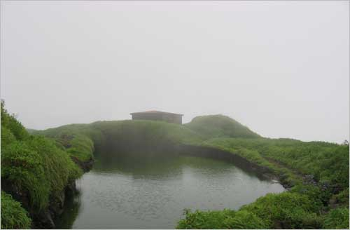 The small water reservoir at Rajgad fort, rains fill up this small water source which takes care of the fort water supply.