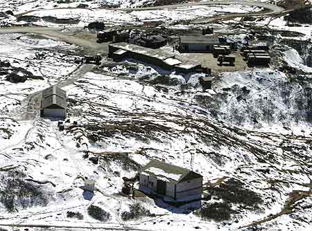 A snow-covered army camp is seen after a snowfall at the India-China trade route at Nathu-La