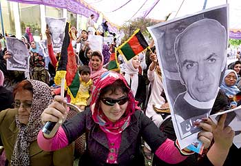 Women attend an election campaign for Afghan presidential candidate Ashraf Ghani Ahmadzai in Kabul.