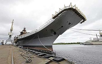 Admiral Gorshkov, the Soviet-era aircraft carrier bought by India, is anchored at the Sevmash factory in the northern city of Severodvinsk.
