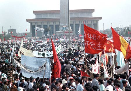 Thousands at Tiananmen Square on May 17,1989 in the biggest popular upheaval since the Cultural Revolution.