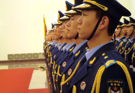 Chinese soldiers at the Great Hall of the People in Beijing
