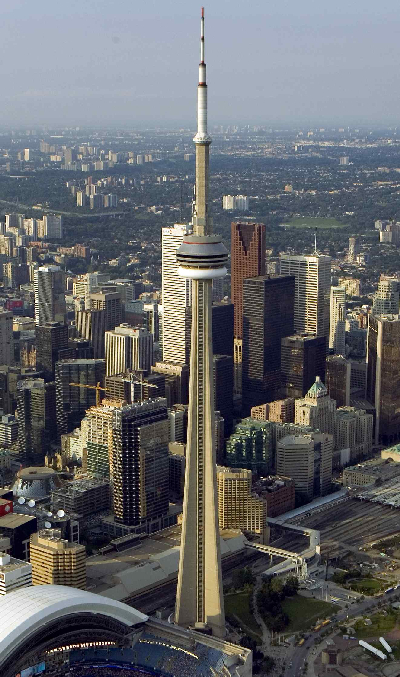 The CN tower, a landmark in Toronto, Canada