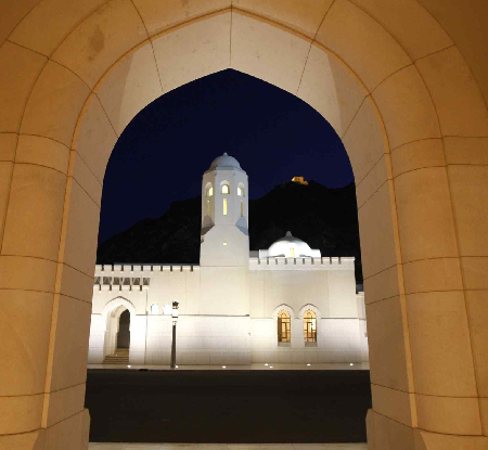 A view of the Al Alam Royal Palace in Muscat, Oman