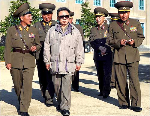 North Korean leader Kim Jong-Il visits the headquarters of the 7th infantry division at an undisclosed place in North Korea