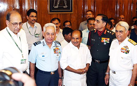 Defence Minister AK Antony along with the three service Chiefs at South Block