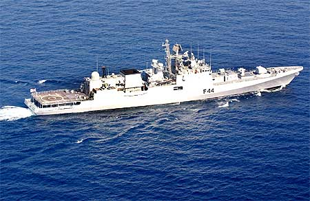 INS Talwar, the Navy ship  which thwarted the pirate attack on M V Maud, a Norwegian merchant vessel