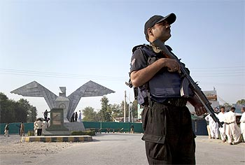 A commando at the Aeronautical Complex in Kamra, which has been targeted by the Taliban twice
