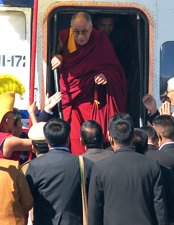 Dalai Lama embarks from the helicopter