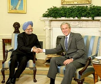 Then US President George W Bush with Prime Minister Manmohan Singh at the White House.