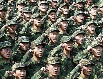 People's Liberation Army troops take an oath in Shandong province